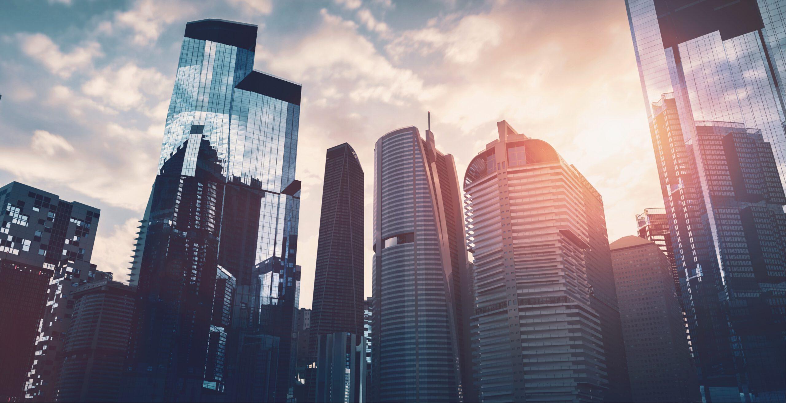 Wolkenkratzer von Unternehmen, die von der Corona-Krise betroffen sein könnten.